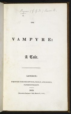 The Vampyre by John Polidori [page: title page] Mary Shelley Frankenstein, British Literature, Red Moon, Monsters, Gothic, Fiction, Goth, Blood Moon, Monster Crafts