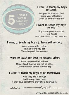 5 Things I want to teach my Boys #parenting #love #sons