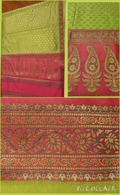 Light parrot green and candy pink uppada saree with Banarasi zari work.