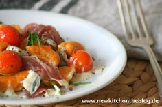 Süßkartoffel-Gnocchi mit Gorgonzolasauce und Rucola