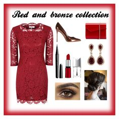 """""""Red and bronze collection"""" by daniella-banwell on Polyvore featuring Alice & You, Effy Jewelry, Sergio Rossi, Jimmy Choo, Marc Jacobs and Christian Dior"""