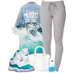 A fashion look from June 2014 featuring blue top, levi high tops and lightweight sweat pants. Browse and shop related looks.
