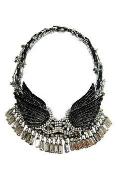 Venna Crystal Wings Necklace.  This black box link choker features strands of silver links with tonal star charms and black crystal-encrusted wings with multi-cut clear crystal fringe at the bib. $528