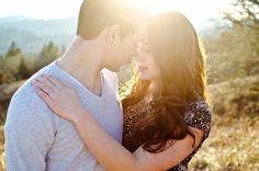 romantic engagement photo couple pose