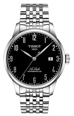 Tissot Le Locle Powermatic 80 Watch with Black Dial and 316L Stainless Steel Bracelet