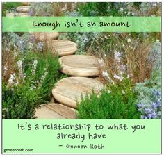 Enough isn't an amount. It's a relationship to what you already have. - Geneen Roth