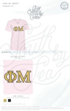 Phi Mu | Block Letter | Tackle Twill | Gold Block Letters | South by Sea | Greek Tee Shirts | Greek Tank Tops | Custom Apparel Design | Custom Greek Apparel | Sorority Tee Shirts | Sorority Tanks | Sorority Shirt Designs