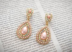 Jeweled Oval Drop Earrings
