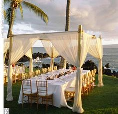 A little more beach side wedding reception paired with soft flowing fabric tents.
