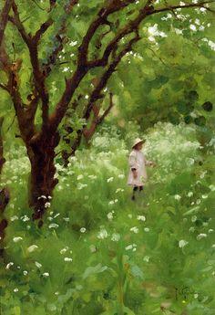 """The Orchard"" Author: Thomas Cooper Gotch (English, 1854-1931)"