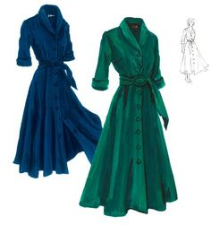 1940s Cord Dress-I can't help but love J Peterman's classic retro-inspired clothing. This, is green corduroy would make a snuggly, Christmas dress!