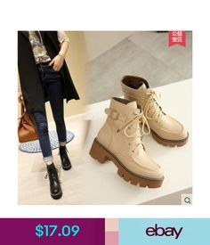 Flats Fashion Women's Heels Leather Martin Shoes Lace Up Flats Ankle Boots Shoes Mx78 #ebay #Fashion