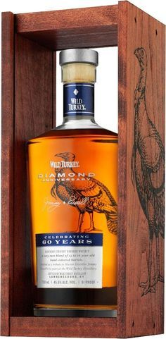 Wild Turkey Diamond Anniversary Kentucky Straight Bourbon #Whiskey. Aged for 13 to 16 years, this #bourbon earned a score of 97 points from Wine Enthusiast. | @Caskers Cigars And Whiskey, Scotch Whiskey, Bourbon Whiskey, Whiskey Bottle, Vodka, Tequila, Alcohol Bottles, Liquor Bottles, Alcohol Mixers