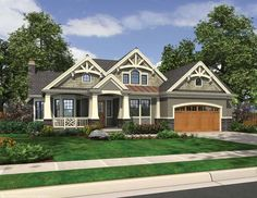 Eplans Traditional House Plan - Rustic Rambler with Expressive Detailing - 3020 Square Feet and 3 Bedrooms from Eplans - House Plan Code HWEPL69599