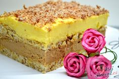Vanilkový cheesecake s broskvemi Cake Bars, Hungarian Recipes, Sweet Desserts, Vanilla Cake, Nutella, Cake Recipes, Cheesecake, Food And Drink, Cooking Recipes