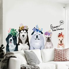 Cute Cartoon Dogs With Flower Wall Sticker For Kids Room Boy Girl Window Glass Pet Shop Showcase Decals Removable Fashion Home Flower Wall Stickers, Window Stickers, Dog Bedroom, Window Mural, Bedroom Stickers, Dog Home Decor, Animal Wall Decals, Cartoon Dog, Dog Paws