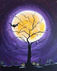 Calendar | Uptown Art | Greenville Halloween Canvas Paintings, Halloween Painting, Easy Paintings, Vintage Halloween Images, Halloween Pictures, Autumn Painting, Autumn Art, Halloween Rocks, Halloween Crafts