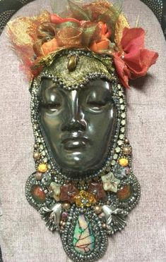 Beaded Embroidery, Masks, Necklaces, Dolls, Beads, Pendant, Gallery, Face, Artist