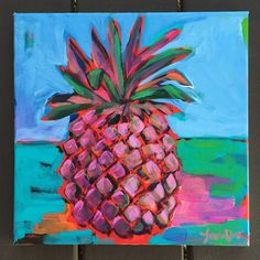 There are a few Pineapple Ladies left, but most of these are being packed and shipped out! Pineapple Squares, Pineapple Art, Square One Art, Guache, Paint And Sip, Tropical Fruits, First Art, My Favorite Image, Abstract Flowers