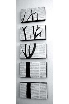 Black and white split canvas tree wall piece by TheWineWorkshop, $38.00