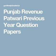 Punjab Revenue Patwari Previous Year Question Papers