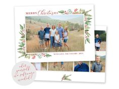 Spread some holiday cheer this season with a Christmas Card Template. Your beautiful family photos will look perfect in this 5x7 Christmas card. You can quickly and easily edit your card online in your web browser, then download and print right away! View MORE Christmas Cards HERE Merry Christmas Card Photo, Christmas Photo Card Template, Beautiful Christmas Cards, Printable Christmas Cards, Christmas Templates, Holiday Cards, Holiday Birth Announcement, Birth Announcement Template, Watercolor Christmas Cards