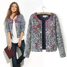Hot Sale! 2015 New European and American style retro print blue and white round neck jacket women embroidery coat for women(China (Mainland))