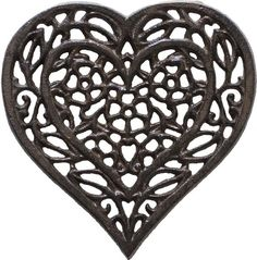 """Cast Iron Heart Trivet   Decorative Cast Iron Trivet For Kitchen Or Dining Table   Vintage Design  6.75X6.5""""   With Rubber Pegs/Feet - Recycled Metal by Comfify"""