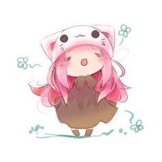 1girl :3 = = animal hat cat hat chibi hat megurine luka megurine luka... ❤ liked on Polyvore