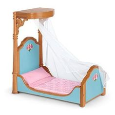 American Girl Cecile's Bed & Bedding Set for Doll by American Girl. $99.49. Gauzy mosquito netting that hangs from the half-canopy. A plump pillow with a pink cotton cover. A wooden bed inspired by authentic furniture from the 1850s, featuring floral artwork and contoured side rails. A satin bedspread with a dainty doily print. A soft mattress for sweet dreams. Cécile can sleep peacefully all night long in this grand bed set:      A wooden bed inspired by auth...