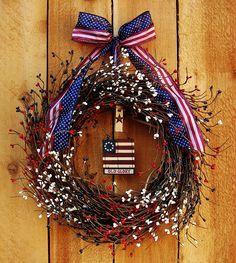 Spring Wreath-Spring Door Wreath-Front Door Wreath-WOODEN FLAG Berry Door Wreath-Holiday Wreath-Americana Patriotic Military Wreath. $69.00, via Etsy.