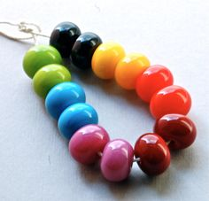 handmade+lampwork+glass+beads+rainbow+color++lampwork+por+paulbead,+$29.00