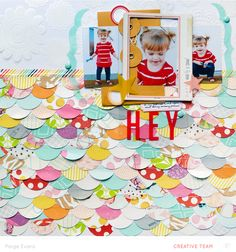 Watch and learn how to make a colorful scalloped paper photo mat for your scrapbook pictures in a start to finish video!