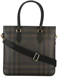 BURBERRY Checked Tote. #burberry #bags #shoulder bags #hand bags #pvc #leather #tote