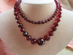 Vintage 20s Cherry Amber Bakelite Beaded Necklace by AndOnToWillow