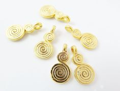 6 Sprial Drop Charms  22k Matte Gold Plated  by LylaSupplies, $4.30