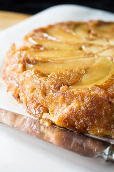 Upside down apple bread pudding creates a beautiful pattern of sliced apples on your bread pudding.  Easy to make, with just a few simple ingredients. via @recipeforperfec
