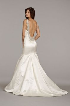 coture trumpet style dresses | Ivory silk satin trumpet bridal gown with V-neckline, beaded collar ...