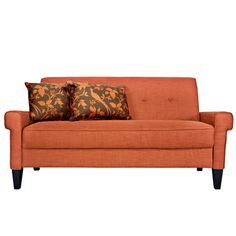 angelo:HOME Ennis California Vintage Orange Sofa |  I like this for the sunroom.  1 bottom cushion, no loose back cushions and that =grandkids can't throw cushions off on my floors!   yeah!
