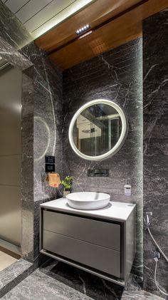 A Deluxe Lodging - Apartment Interiors Washroom Design, Toilet Design, Bathroom Design Luxury, Bathroom Design Small, Modern Bathroom, Bathroom Designs India, Washbasin Design, Bathroom Basin, Bathroom Cabinets