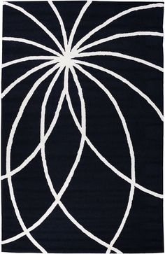 Everest Swirls and Spirals Black Area Rug