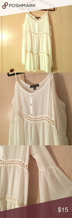 """Flowy cream dress Never been worn! It is see through but I will pair it with a strapping cream mini """"underdress"""" that matches it. Comes from a nonsmoking household! Dresses"""