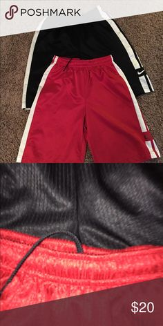 Bundle of Nike Basketball Shorts Dri-fit basketball shorts. Colors are red & black. Listing priced for both. See second pic for material texture. Nike Bottoms Shorts