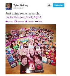 Hahaha, yup soon there'll be One Direction college...I'll get an A+ on every single test!!! Lol I see Taylor Lautner on the front cover of one of these...