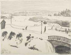 """Hans Körnig, """"Winter in der Prießnitzaue"""", Graphit auf Papier, 1938, aktuelle Ausstellung: http://www.dresden.de/veranstaltungen-tourismus/snm_vkal_frontend/events/detail/22236  Reproduktion: Olaf Börner/ Museum Körnigreich"""