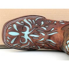 Stetson Cowgirl Boots Womens Mad Dog Goat w/ Lt Blue Inlay - WOW!  Love, love, love these!  Turquoise inlay with a square toe, gorgeous.