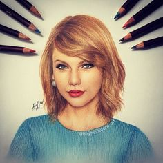 Taylor Swift. Celebrities Drawn and Colored in with Pencils. See more art and information about André Manguba, Press the Image.
