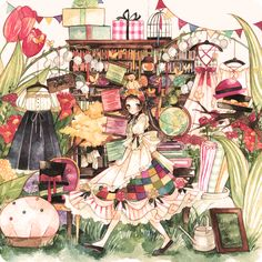 "えこ (Eco), ""パピヨンの恋する洋裁屋"" (""Butterflies with Love Dressmaking Shop""???).  So wonderfully cluttered. :)  Love that dress in the front left and the lilies-of-the-valley."