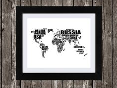 """World Map Printable Art, Typographic Map, Countries of the World, Country Names, Word Art, Wall Art, Black, White, Typography, 14 x 11"""""""