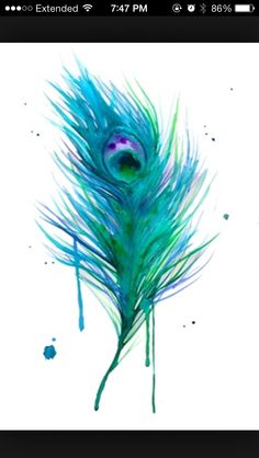 Peacock feather watercolor tattoo - would prefer it without the blue drips - maybe more of a splash pattern instead.